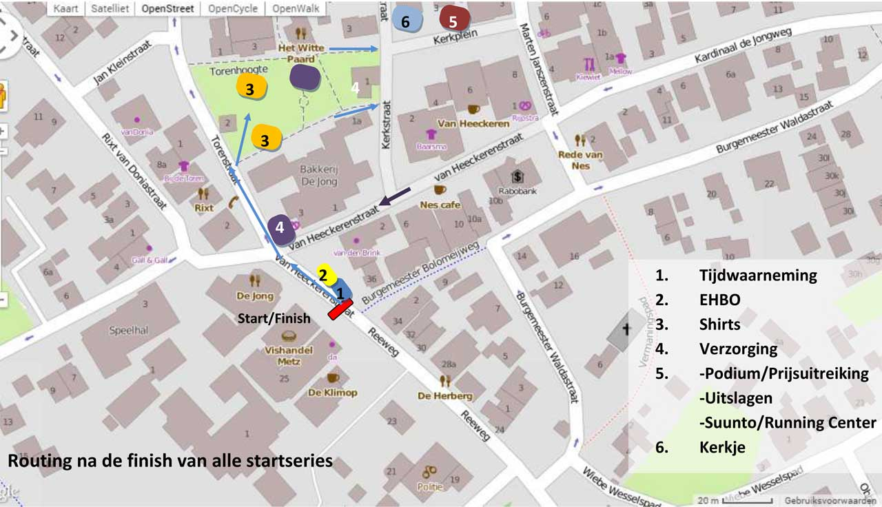 Routing na de finish van alle startseries in Nes